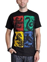 T-shirt Harry Potter Poudlard Gryffondor Poufsouffle Serdaigle Serpentard armes noir