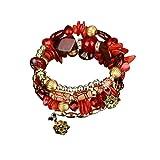 Paolian Femmes Bohême Bracelet Pierres colorées Perlé Wristband Mode Bijoux Cadeau idéal pour l'anniversaire (Rouge)