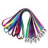 Fablcrew Lanyards Clés Collier ruban cordon tour de cou avec clip Metal pour téléphone Cartes USB et Keys 5pièce couleur aléatoire