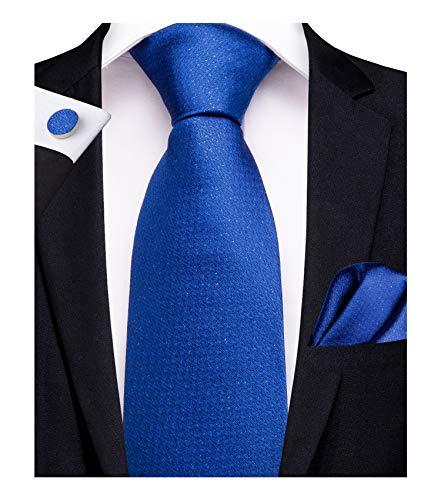 DiBanGu Herren Set Krawatte und Einstecktuch quadratisch formelle Krawatte Manschettenknöpfe Clip Geschenkset Hochzeit Business - Blau - -