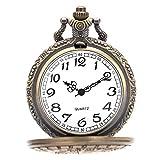 VATENZONE Taschenuhr für Männer Hand Wickeln Maschinenbau Schwarz Silber Offenes Gesicht Jahrgang Bronze