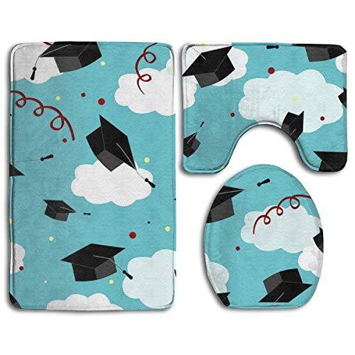 NFHRRE Graduates Hats in The Air Graduation Caps Toilet Carpet?Fashion Bathroom Rug Mats Set 3 Piece Anti-Skid Pads Bath Mat + Contour + Toilet Lid Cover (Cap Lila Graduation)