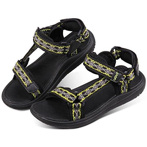 UOVO Jungen Mädchen Sandalen Kinder Wasser Strand Sandalen Open-Toe Athletic Outdoor Sandalen Sommer Schuhe Verstellbaren Riemen Schwarz 30 EU