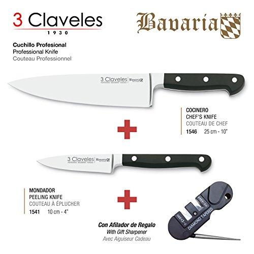3 Claveles - Pack de 2 Cuchillos Professionales en Acero Inoxidable Molibdeno Vanadio Forjados en Caliente de la Gama Bavaria, Cocinero de 25 cm y Mondador de 10 cm, Incluye Afilador de 3 Etapas: Diam