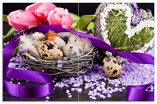 Wallario Herdabdeckplatte/Spritzschutz aus Glas, 2-teilig, 80x52cm, für Ceran- und Induktionsherde, Motiv Ostern - Stillleben II - Bunte Eier, Herzen und Tulpen