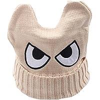 Cute Big Eyed niños tejidos a mano Resil invierno sombrero suave bebé caliente Cap, beige