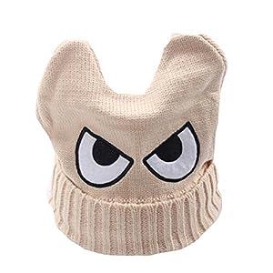 Cute Big Eyed Kinder Handgestrickt Resile Winter Hut Baby Soft Warm Cap, Beige