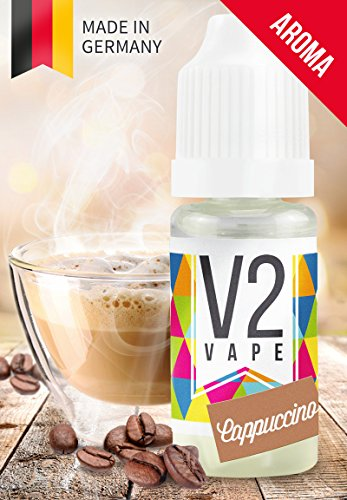 V2 Vape Cappuccino AROMA/KONZENTRAT hochdosiertes Premium Lebensmittel-Aroma zum selber mischen von E-Liquid/Liquid-Base für E-Zigarette und E-Shisha 10ml 0mg nikotinfrei
