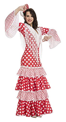 Imagen de my other me  disfraz de flamenca rocío para mujer, s, color rojo viving costumes 203861