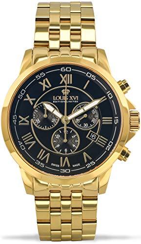 LOUIS XVI Herren-Armbanduhr Aramis Stahlband Gold Schwarz Chronograph Analog Quarz Edelstahl 907