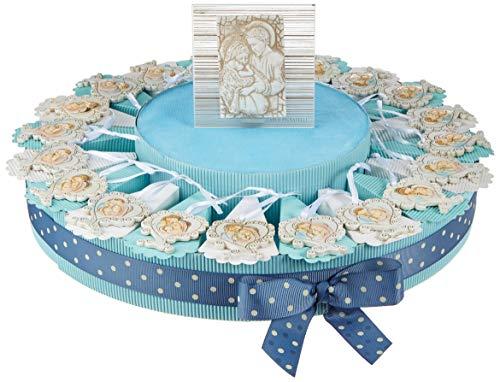 Sindy bomboniere 8054382130 torta albero della vita sacra famiglia, resina, azzurro, 30 x 30 x 5 cm