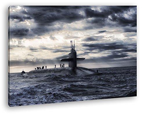 deyoli Militär U Boot auf offener See Format: 120x80 als Leinwandbild, Motiv fertig gerahmt auf Echtholzrahmen, Hochwertiger Digitaldruck mit Rahmen, Kein Poster oder Plakat -
