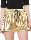Allegra K Damen Kordelzug Elastische Taille Metallisch Shorts S/Golden