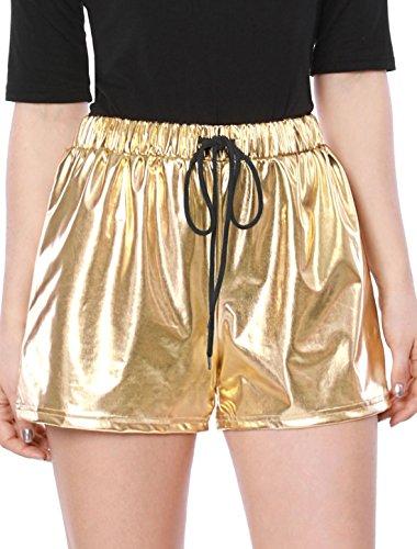Allegra K Damen Kordelzug Elastische Taille Metallisch Shorts M/Golden -