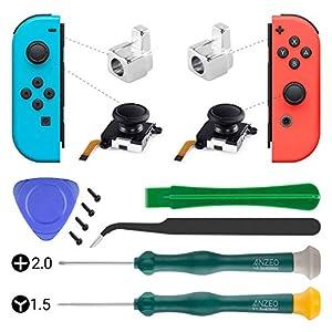 3D-Analog-Joystick Daumen-Sticks Ersatz für Nintendo Switch, Schraubendreher Set Reparatur Werkzeuge Kit für Nintendo Switch Joy-Con Controller