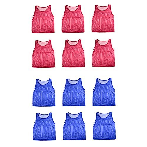 Nylon Mesh Scrimmage Team Practice Vests Pinnies Jerseys for Children Youth Sports Basketball, Soccer, Football, Volleyball (12 Jerseys) by Super Z Outlet by Super Z Outlet -
