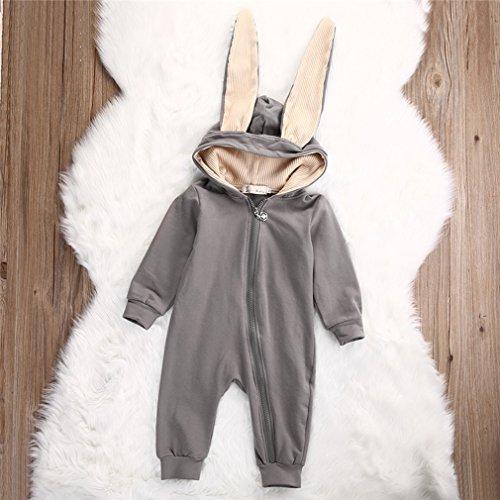 Yinew Baby Kleidung 6-12 Monate Frühling und Herbst Baby Kaninchen Verbunden Hut Reißverschluss Aufstieg Kleidung Jeans Baumwolle Lange Ärmel Grau 70cm (Langen Aufstieg)