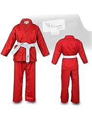 Rojo Niños Karate Traje Libre Blanco Cinturón Niños Karate Suit - 120cm