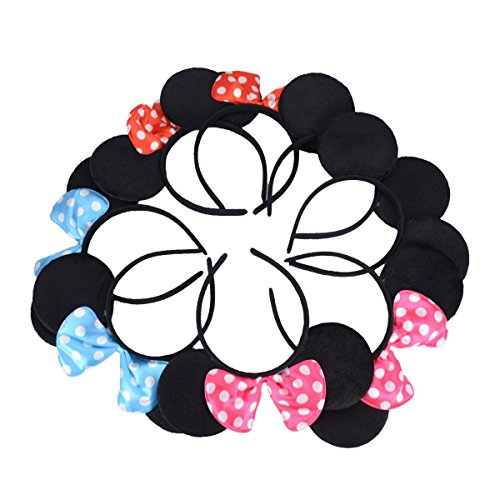 Image of Tougo Pack of 8 with 4 kinds - Mickey Mouse Adorable Ear Dots Solid Various Style Black and Bow Minnie Headband for Boys and Girls Birthday Party or Celebrations