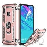 LeYi Funda Huawei P Smart 2019 / Honor 10 Lite Armor Carcasa con 360 Anillo iman Soporte Hard PC y Silicona TPU Bumper antigolpes Fundas Case para Movi P Smart con HD Protector de Pantalla,Oro Rosa