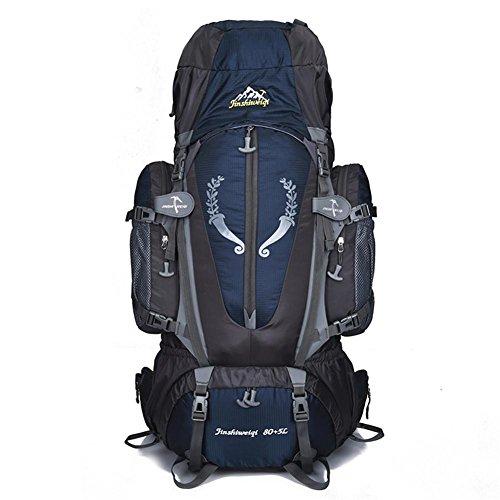 85L Rucksack Nylon Camping Bergsteigen Rucksack Tasche Super leichtes 1.95 kg mit Brustbein Riemen und abnehmbare tragenden H68 x L40 x T18 cm Dark Blue