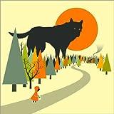 Posterlounge Leinwandbild 120 x 120 cm: Rotkäppchen und der böse Wolf von Jazzberry Blue - fertiges Wandbild, Bild auf Keilrahmen, Fertigbild auf Echter Leinwand, Leinwanddruck