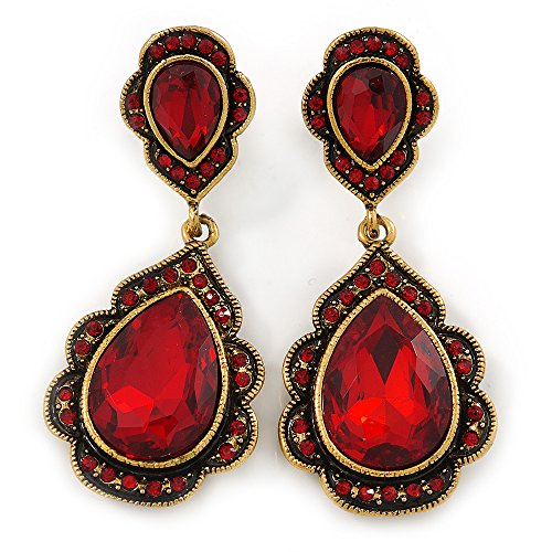 Vintage Rojo Rubí Cristal Bead Pendientes de lágrima en dorado antig