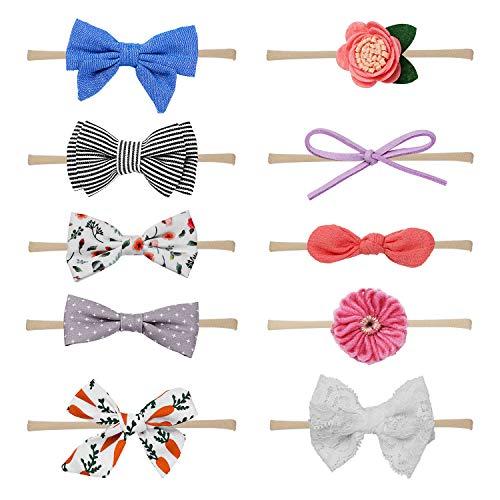 HBselect 10 stk Stirnband Baby Haarband mit elastsichem Band Mädchen Kinder Blumen Blüte Haarschmuck für 3-36 Monate - Baby Stirnband