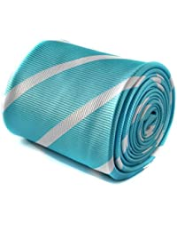 Frederick Thomas turquoise and white club striped tie with floral design to the rear