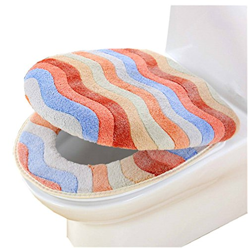 (Affe Winter Thicker Wärmer Regenbogen Toilettensitzabdeckung Set WC Sitzbezug Toilette Matte Tuch Pads - 1 *Toilet Seat Cover,1* Toilet Lid Cover (Kaffee))