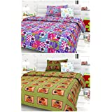 Story@Home Set of 2 Piece Single Size Besheets with 2 Pillow Covers Green, Taffy
