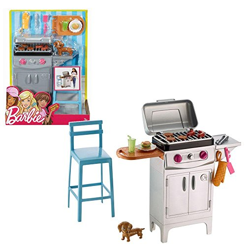 Barbie - mobili da giardino - Outdoor Grill Set & Accessori