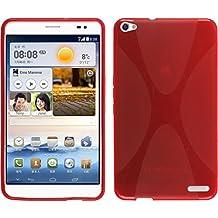 Funda de silicona para Huawei MediaPad X1 - X-Style rojo - Cover PhoneNatic Cubierta + protector de pantalla