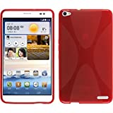 PhoneNatic Case kompatibel mit Huawei MediaPad X1 - rot Silikon Hülle X-Style + 2 Schutzfolien