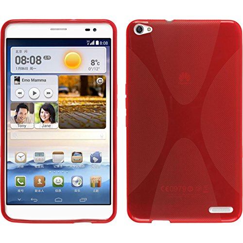 PhoneNatic Case für Huawei MediaPad X1 Hülle Silikon rot, X-Style + 2 Schutzfolien