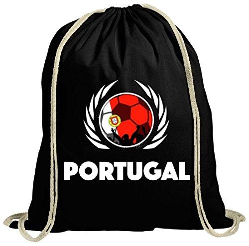 World Cup Wappen Soccer Fussball WM Fanfest Gruppen Fan natur Turnbeutel Gym Bag Fußball Portugal schwarz natur