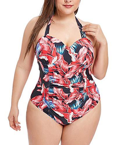 Mujer Control de la Panza Traje de baño Cabestro Floral Una Pieza Bañador Talla Extra Monokini