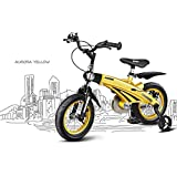 1-1 Kinderfahrrad, Leicht Magnesiumlegierung Versenkbarer Rahmen Einstellbare Sitzgriffhöhe Gummiluftreifen Sicherheit,Yellow