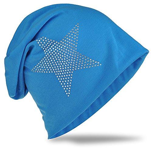 StrassStern Jersey Slouch Beanie Long Mütze Stern mit Strass Applikation Unisex Unifarbe Herren Damen Trend Lichtblau