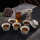 GBCJ Hochwertiges Geschenk Old Rock Schlamm und Keramik Kombination Schwarzer Tee Tee Maker Hochwertiges Geschenk Tee Set Logo, Zwei