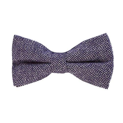 DonDon Herren Fliege 12 x 6 cm Fischgrät-Muster gebunden und stufenlos justierbar aus Baumwolle im Tweed Style blau -