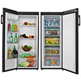 Cookology Tall Upright Fridge & Freezer Pack in Black, 55 x 142cm tall, Side-by-Side