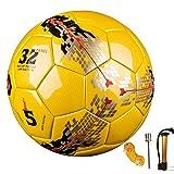 Senston Allenamento Palloni da Calcio - Official Palloni da partita Adulto e bambini Football Pallone da calcio taglia 5 - con la pompa di calcio / Adattatore per valvola ad ago e Soccer Carry Net