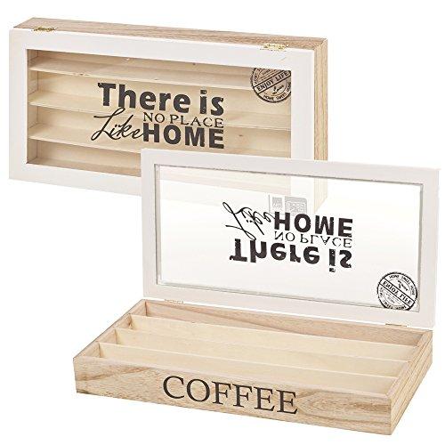Contenitore porta capsule di caffè scatola per bustine di tè in legno con coperchio in vetro, coffee capsule box