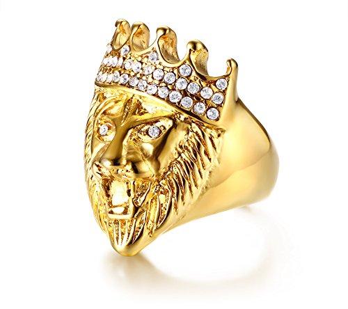 (Vnox Vergoldung Edelstahl Kristall Iced Out Lion Krone König 3D Ring Hip Hop Rock Punk Für Männer, Größe R 1/2)