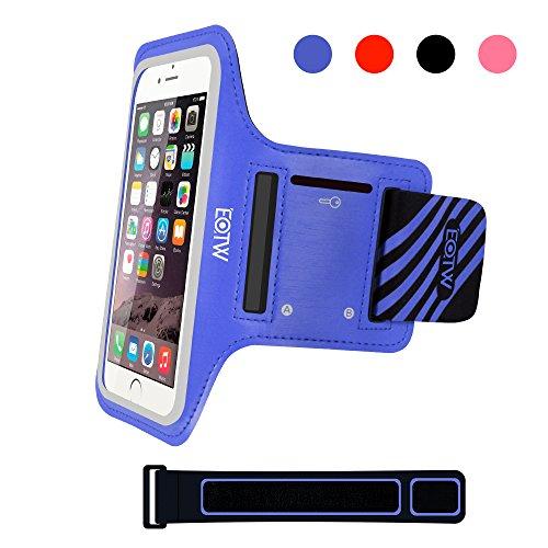 EOTW Brassard Sport pour iphone SE/5s/5c/5/4s, Brassard téléphone avec espace pour cartes, clés, argent & écouteurs, Bon Maintien pour de Course, Jogging, Vélo, Pêche ( 4,0 Pouces, Bleu )