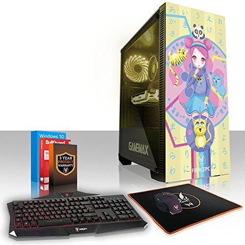 Fierce Kawaii Kreation RGB Gaming PC Bundeln - Schnell 6 x 4.6GHz Hex-Core Intel Core i7 8700K, Aftermarket Tower Kühler, 1TB Seagate FireCuda Solid State Hybrid Drive, 16GB von 2133MHz DDR4 RAM / Speicher, NVIDIA GeForce GTX 1050 Ti 4GB, Gigabyte Z370 HD3 Hauptplatine, GameMax Draco with Fuzzy Friends HD Armour RGB Computergehäuse, HDMI, USB3, Wi - Fi, Perfekt für Wettkampfspiele, Windows 10 installiert, Tastatur maus (VK/QWERTY), 3 Jahre Garantie 959760