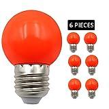 JCKing (Packung mit 6) E27 Schraube Golfball Biergartenbeleuchtung Lampen Farbiges Glühbirnchen für Terrasse Party Weihnachten - Rosa Fluorescente