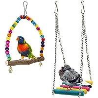Rabi, altalene da gabbia per uccelli, in legno, adatte per parrocchetti, conuri, pappagalli, pappagalli Ara, inseparabili, fringuelli (confezione da 2 pezzi)