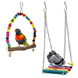Bird Swings, Rabi Wooden Budgie Toys Pet Bird Cage Hammock Swing Hanging Toy for Parakeets Cockatiels, Conures, Macaws, Parrots, Love Birds, Finches (2 Pack)